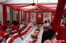 bàn ghế đám cưới trắng đỏ, ban ghe dam cuoi trang do, cho thue ban ghe trang do, cho thuê bàn ghế trắng đỏ